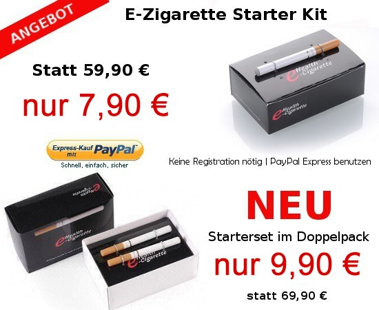 E-Zigarette Starterset ab 7,90€! Doppelpack nur 9,90€!